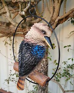 Kookaburra in Ring Australian Bird Hanging Ornament Figurine Garden Sculpture