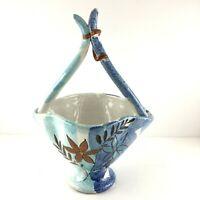 Italy Pottery Basket Vase Dish Planter F.10010 A-B Hand Painted Shiny Glaze