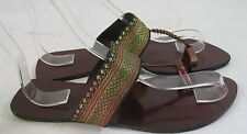 Summer new brown/gold Kolhapuri Chappal toe strapsexy  SANDALS shoes  SIZE 8  p