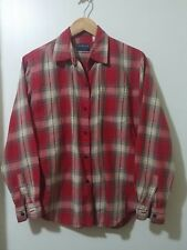 Liz Sport Petite Small Long Sleeve Button Down Red Cotton Flannel Shirt Pocket