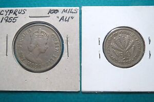 1955  Vintage CYPRUS  100 Mils & 50 Mils (Pair) COINS, Very Fine Condition