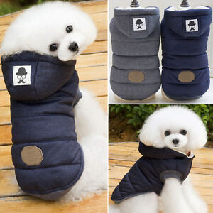 Jacket Pet Winter Cotton Coat Hoodie Hat Warm Apparel Puppy Cat Dog Clothes Vest