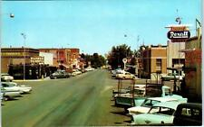 WHEATLAND, Wyoming  STREET SCENE Thorne REXALL c1950s Cars Postcard