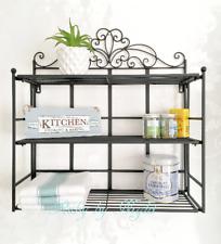 Shabby Chic Black Metal Wall Shelf Unit Industrial Storage Cabinet Display Rack