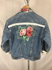 Levis Floral Embellished Denim Jean Jacket Size M W/ White Lace (J)