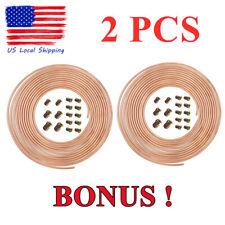 "2Pcs 25 Ft. Roll Coil of 3/16"" Od Copper Nickel Brake Line Tubing Kit W/Fittings"