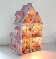 Large Wooden Kids Doll House Barbie Kit Play Dollhouse Mansion Furniture DIY
