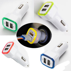 Universal LED Car Charger Mini USB 2-Port Adapter For Apple iPhone Samsung HTC