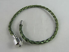 20cm OLIVE GREEN BRAIDED LEATHER CHAIN EURO STYLE CHARM BRACELETS / FREE POSTAGE