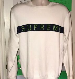 FW16 Supreme Logo Stripe Pique white Crewneck size M medium sweater