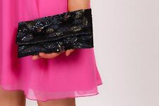 vintage style peacock coloured sequin beaded lace clutch bag ACCESSORIZE