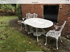 Vintage White Metal Table & 4 Chairs