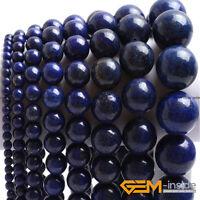 "Blue Lapis Lazuli Gemstone Round Spacer Loose Beads For Jewelry Making 15""  YB"