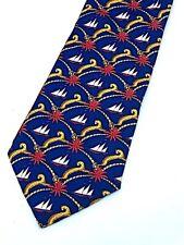 Salvatore Ferragamo Silk Blue Art Deco Sailboats Palm Trees Leopards Neck Tie