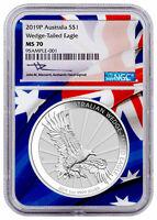 2019 P Australia 1 oz Silver Wedge Tailed Eagle $1 NGC MS70 Mercanti SKU56680
