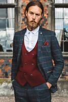 Men Wool Blend Herringbone Blue Tweed Plaid Suit Wedding Tuxedos Groom Prom Suit