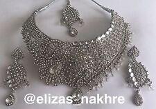 Indian/Pakistani Bollywood Style White rhinestone and Silver necklace set
