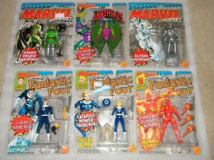 6 Vintage MOC Sealed Fantastic Four Marvel Action Figure Lot Toy Biz 1990 Doom +