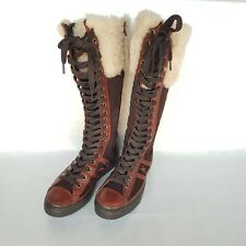Converse Chuch Taylor Knee High Boots sz 6.5 Brown Leather Suede