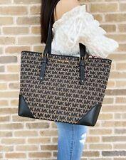 Michael Kors Lillian Large Top Zip Shoulder Tote Handbag Beige Black