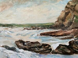 🔥 Antique California Plein Air Impressionist Seascape Oil Painting - Edith Cope