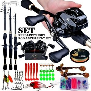 2.4m Telescopic rod combo 7.2:1 Gear carbon travel spinning reel Fishing set