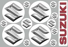 SUZUKI logo decal stickers, 4pcs 50mm, 7pcs 15mm diameter