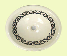#018 LARGE BATHROOM SINK 21X17 MEXICAN CERAMIC HAND PAINT DROP IN UNDERMOUNT