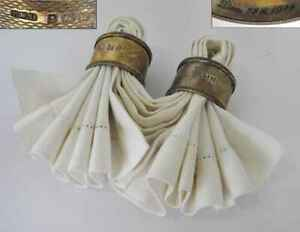 1921 ANTIQUE ART DECO GILDED STERLING SILVER PAIR OF NAPKIN RINGS