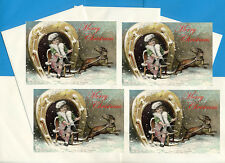 DACHSHUND GIRL AND SLEDGE PACK OF 4 CARDS DOG PRINT GREETING CHRISTMAS CARDS