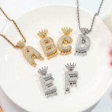 1PC Shiny Cubic Zirconia Micro Pave Crown Initial Letter Pendant Necklace Unisex