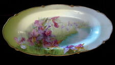 "BAVARIAN ""SUMMER"" Hand Ptd CYMBIDIUM ORCHID Oval Gilded Antique Plate /Tray 14"""