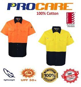 1 x Hi Vis Work shirts short sleeves vented Cotton Drill Safety uniform workwear