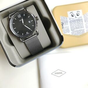 Fossil Watch * FS5419 The Commuter Date Gunmetal Grey Mesh Steel COD PayPal