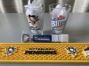 Pittsburgh Penguins Labatt Blue Rubber Spill Bar Mat Pint Glasses Bottle Opener