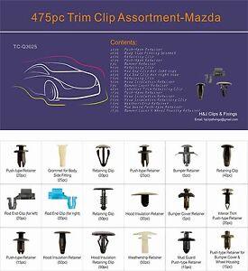 475pc Mazda Car Trim Clip Assortment Tray Box Set Universal General Use