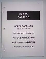 MacDon 9250 9350 9352 Windrower Parts Catalog Westward Prairie Star 4940 4950/52