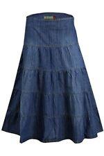 Five Tier Delightful Feminine Blue Denim Midi Jeans Skirt Plus Size 14 - 24 14