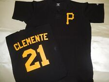 0218 Boys Youth Pittsburgh Pirates ROBERTO CLEMENTE Pullover Baseball JERSEY BLK