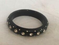 Black Lucite and Crystal Deco Bracelet Large Bangle NWOT