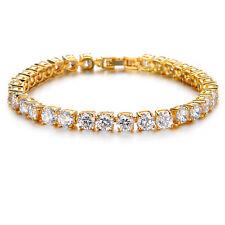 Luxury White Topaz Cubic Zirconia CZ Tennis Yellow Gold Filled Bracelet Gift