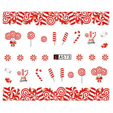Christmas Lollipop Nail Art Water Transfer Decal Xmas Manicure Sticker DIY Tips