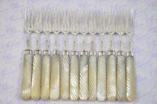 Nice Moses Brent 1807 Georgian Silver Forks London Mother of Pearl Barley Twist