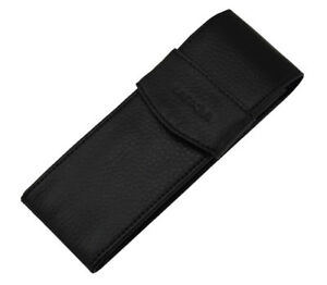 Real Leather Fountain Pen/Roller Pen Case - Black Washed Cowhide Pen Pouch Bag