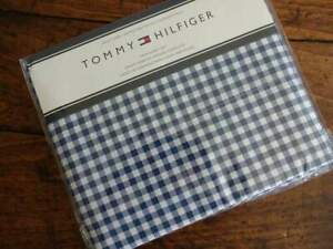 TOMMY HILFIGER NAVY Blue WHITE CHECKED TWIN SHEET Set 3PC