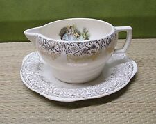 Vintage 1940's Limoges American Triumph D OR Gravy Boat and Underplate lute