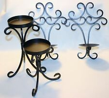 2 wall candle sconce 2 candle holders Ornate Dark Brown Metal Gothic Castle Lot