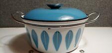 New listing Vintage Catherineholm Enamel Lotus Dutch Oven Blue White Enamelware Mcm Norway