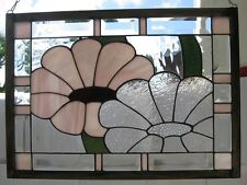 "Stained Glass Window Panel Suncatcher / ""Pink and Clear"""