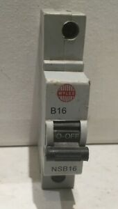 WYLEX 16 AMP TYPE B 6 kA MCB CIRCUIT BREAKER NSB16